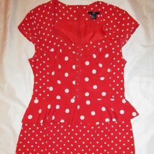 H&M red and white polka dot pin up pencil dress
